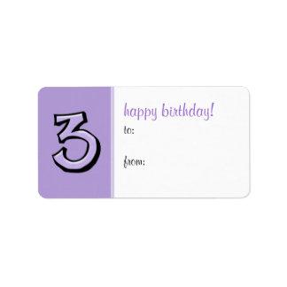 間抜けな第3ラベンダーの誕生日プレゼントのラベルのラベル ラベル