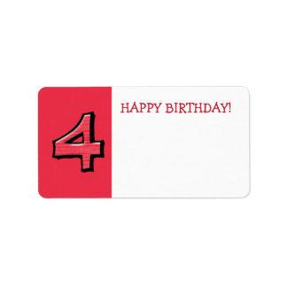 間抜けな第4赤の誕生日プレゼントのステッカー ラベル