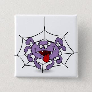 間抜けな紫色の漫画のくも 5.1CM 正方形バッジ