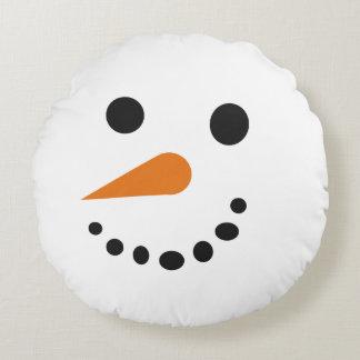 間抜けな雪だるまの顔の休日の枕 ラウンドクッション