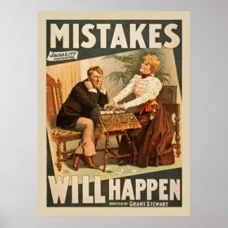 間違いはポスターヴィンテージの戯曲起こります ポスター