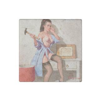 間違ったネイルPinの女の子 ストーンマグネット