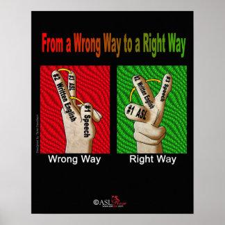 間違った方法から右の方法への ポスター