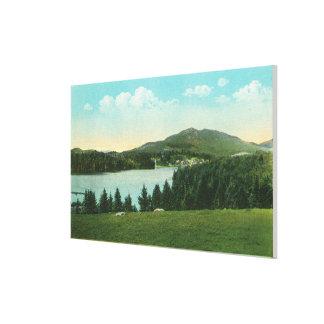 間隔のMt.のパン屋が付いている湖の花の眺め キャンバスプリント