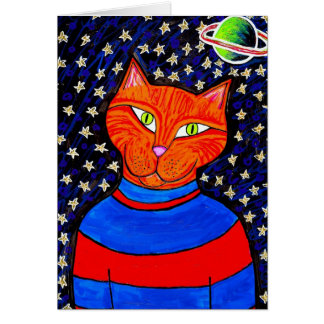 間隔をあけられた猫の挨拶状 グリーティングカード