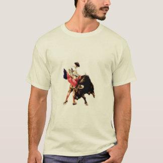 闘牛のプリントが付いているティー Tシャツ