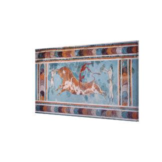 闘牛士のフレスコ画、Knossos宮殿、クレタ キャンバスプリント