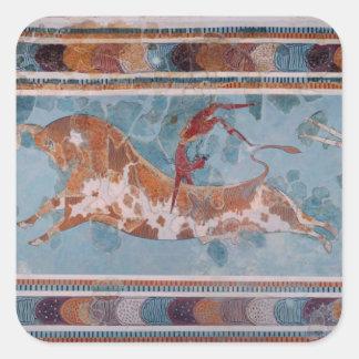 闘牛士のフレスコ画、Knossos宮殿、クレタ スクエアシール