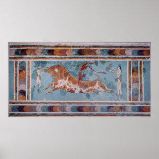 闘牛士のフレスコ画、Knossos宮殿、クレタ ポスター
