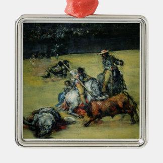 闘牛、c.1825 (キャンバスの油) メタルオーナメント
