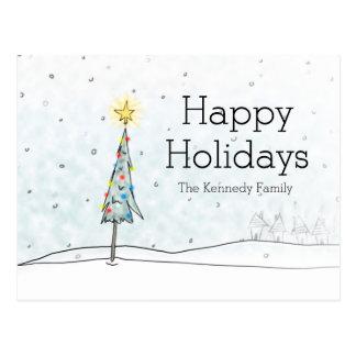降雪のクリスマスツリー ポストカード