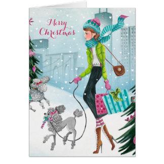降雪のハート-クリスマスの挨拶状 カード