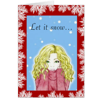 降雪の女の子の休日の挨拶状 カード