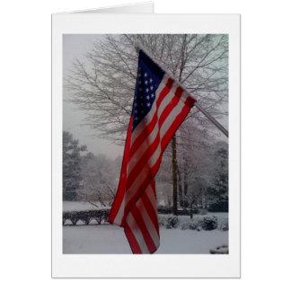 降雪の後の米国旗 カード