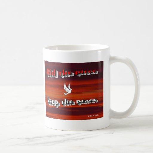 除かれる|平和|保って下さい|平和、メッセージ コーヒーマグ