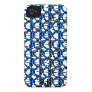 陰が付いているおもしろいで青いスマイリーフェイス Case-Mate iPhone 4 ケース