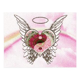 陰陽のハートの天使によっては水彩画が飛びます ポストカード