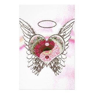 陰陽のハートの天使によっては水彩画が飛びます 便箋