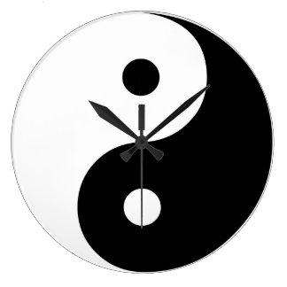 陰陽の白黒イラストレーションのテンプレート ラージ壁時計