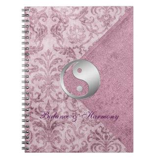 陰陽の紫色のヴィンテージの見返しのバランスジャーナル ノートブック