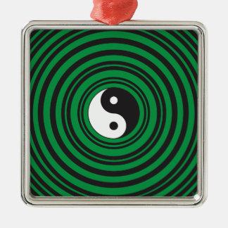 陰陽の緑の同心円のさざ波のリング メタルオーナメント