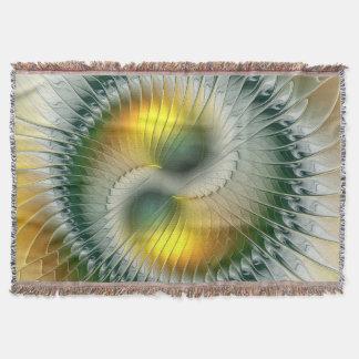 陰陽の緑の黄色の抽象芸術のカラフルのフラクタル スローブランケット