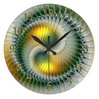 陰陽の緑の黄色の抽象芸術のカラフルのフラクタル ラージ壁時計