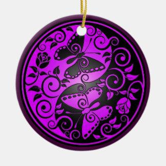 陰陽の蝶、紫色及び黒 セラミックオーナメント