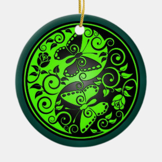 陰陽の蝶、緑及び黒 セラミックオーナメント
