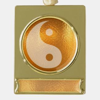 陰陽の金ゴールドのバランスの旗のオーナメントの銀 ゴールドプレートバナーオーナメント