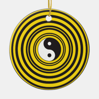 陰陽のTaijituの記号の黄色の黒のさざ波 セラミックオーナメント