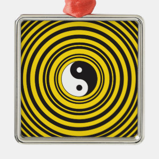 陰陽のTaijituの記号の黄色の黒のさざ波 メタルオーナメント