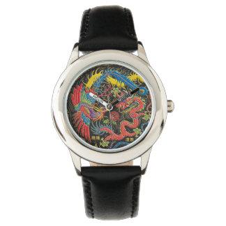 陰陽フェニックスおよびドラゴンの腕時計 腕時計
