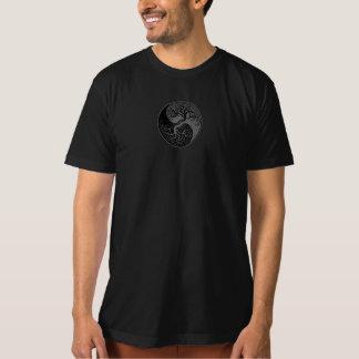 陰陽灰色および黒い生命の樹 Tシャツ
