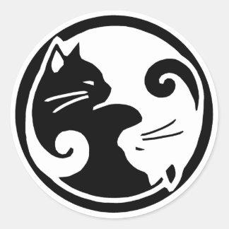 陰陽猫のステッカー 丸形シールステッカー