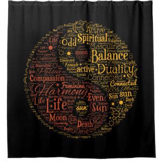 陰陽精神的な色の単語の芸術 シャワーカーテン
