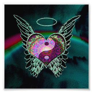 陰陽、天使の翼、ハートおよび宇宙 フォトプリント