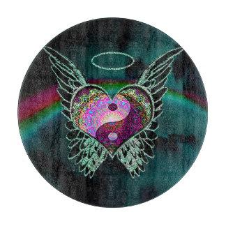 陰陽、天使の翼、ハートおよび星 カッティングボード