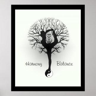 陰陽、生命の樹、女性、ヨガ ポスター
