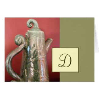 陶器の茶ポットのメッセージカードw/Monogram カード