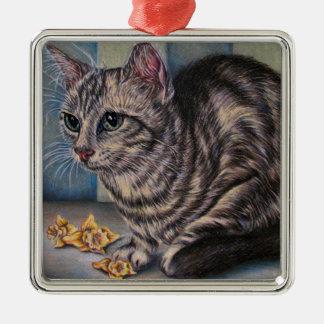 陶磁器のオーナメントのラッパスイセンを持つ猫のスケッチ メタルオーナメント