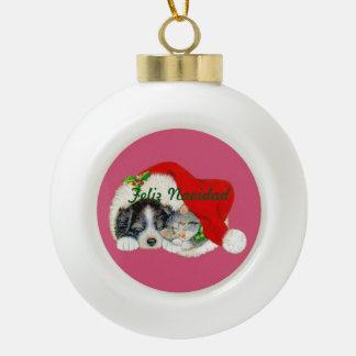 陶磁器のクリスマスのオーナメントの子犬および子ネコ セラミックボールオーナメント