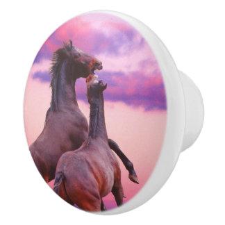 陶磁器のノブを育てている野生の種馬 セラミックノブ