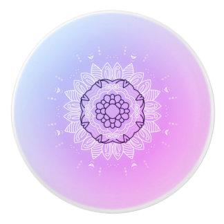 陶磁器のノブ: ピンクの紫色の曼荼羅の芸術 セラミックノブ
