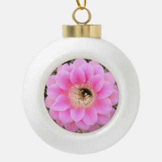 陶磁器のピンクのサボテンの花のオーナメント セラミックボールオーナメント