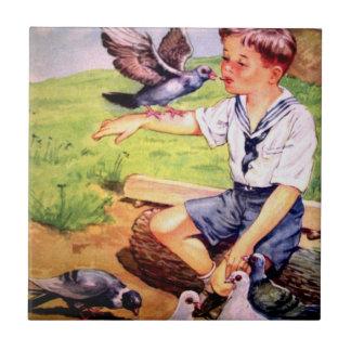 陶磁器の台所タイル国の男の子および鳩 タイル