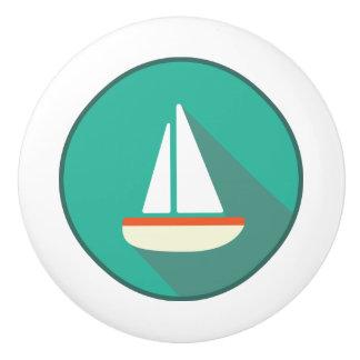 陶磁器の引き、沿岸生活のデザイン、帆ボート セラミックノブ