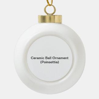 陶磁器の球のオーナメント(ポインセチア) 陶器製ボール型オーナメント