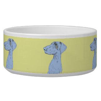 陶磁器犬ボールのスケッチのドーベルマン犬 犬用ご飯皿