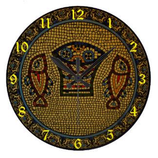 陶磁器魚およびワイン ラージ壁時計